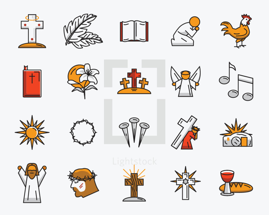 Line icon pack for Easter.