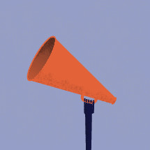 Abstract vector of hand holding a megaphone up high.