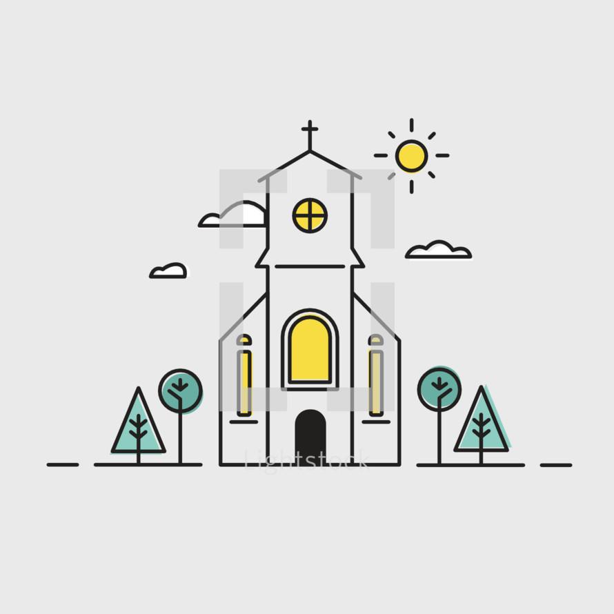 sunny church icon