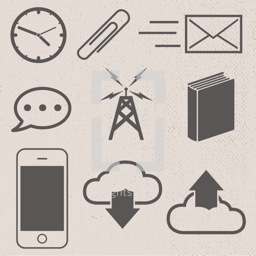 paperclip, phone, cellphone, iphone, download, upload, book, electricity, though bubble, email, envelope, clock, time, icon