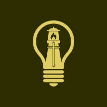 lighthouse, cross, and light bulb logo