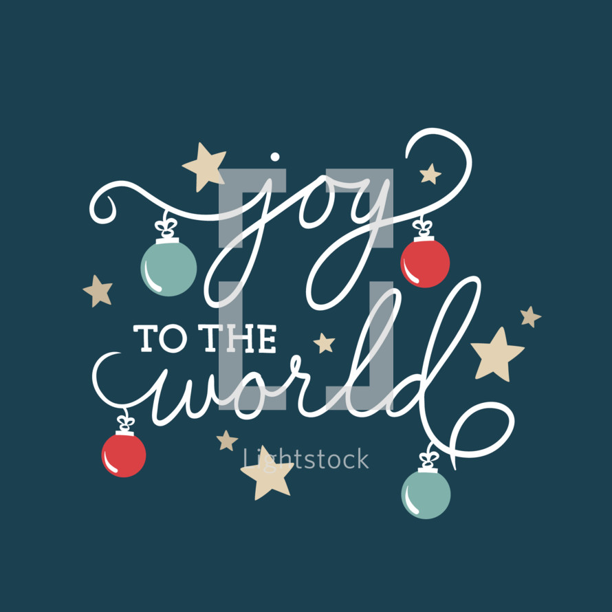 Joy to the world christmas script with... — Vector by Sties Design ...
