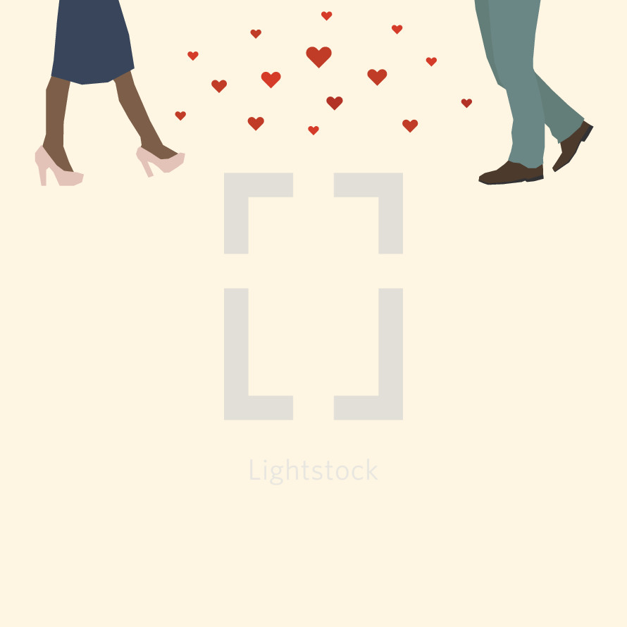 couple in love walking towards each other