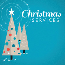 Christmas theme for church service times with retro trees star and ornaments