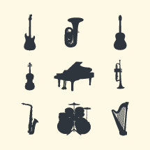 Instrument silhouettes set.