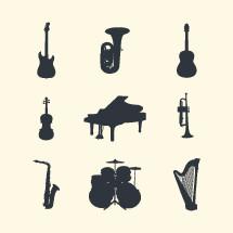 Instrument silhouettes set.