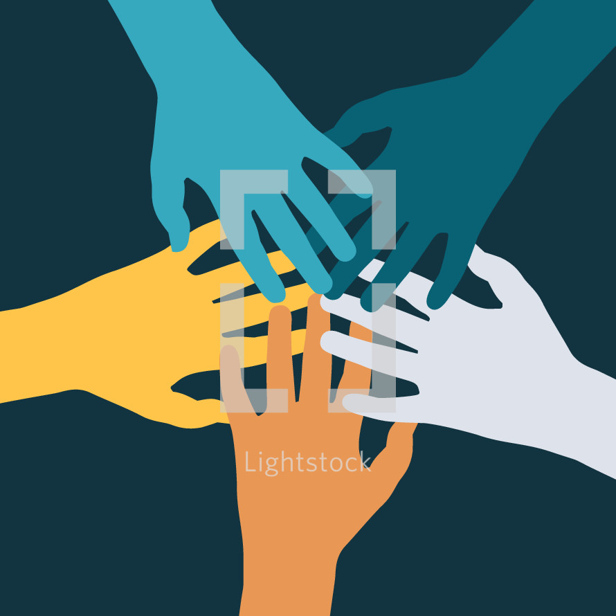hands coming together in unity.