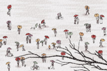 tiny people walking with umbrellas