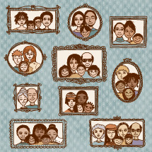 family photographs hanging on a wall