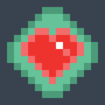 Red heart icon on the button created in the style of pixel art. Quick and easy recolorable shape isolated from the background. The design graphic element saved as a vector illustration in the EPS file format for used in your design projects.