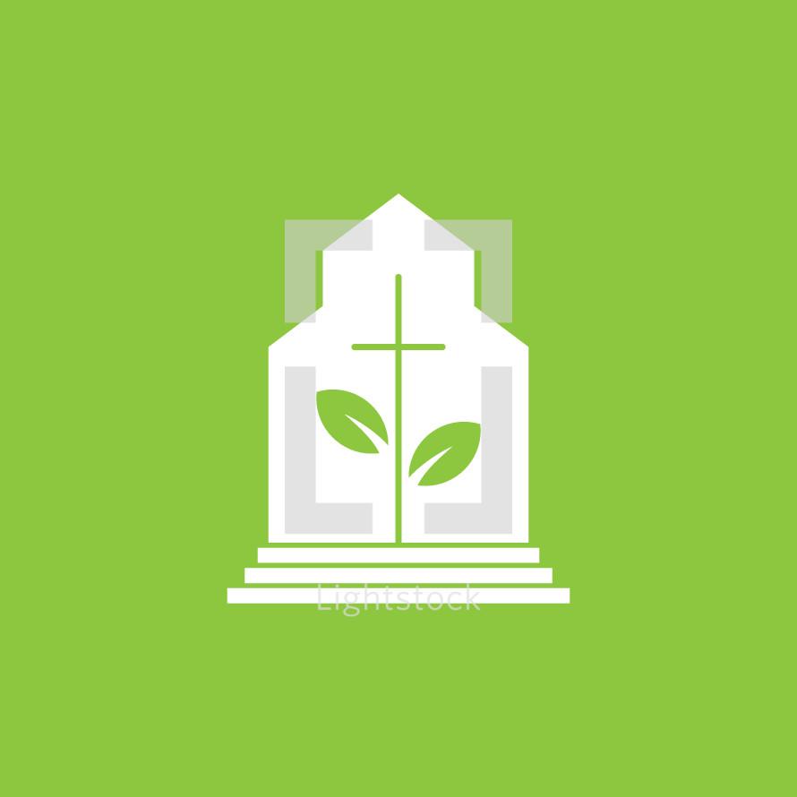 Church planting conceptual icon.