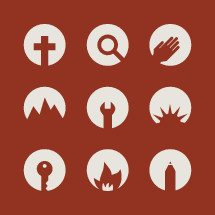 cross, magnifying glass, hand, helping hand, modern, church camp, icons, pencil, key, camp, mountain, wrench, sun, sunrise, campfire, flame