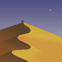 star of Bethlehem and wise man on sand dune.