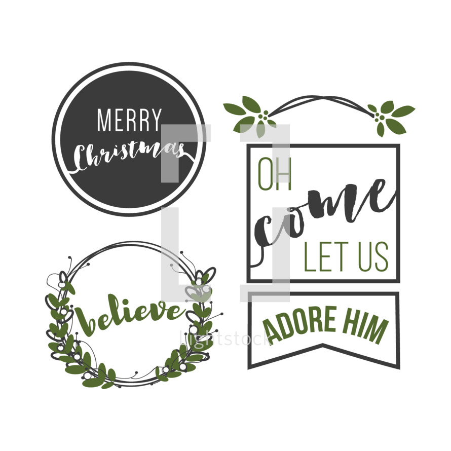 Merry christmas, oh come let us adore him, believe, Christmas