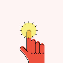 Illustration of hand with ray of light on one finger.