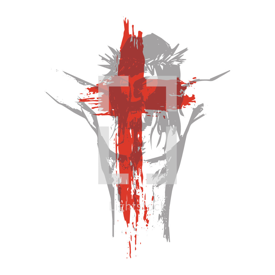 Death of Christ and cross overlay