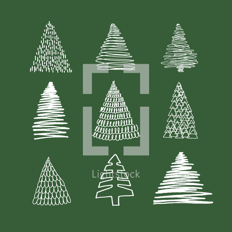 sketched Christmas trees.
