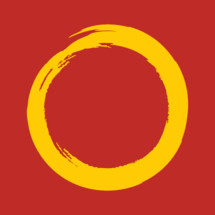 yellow circle on red