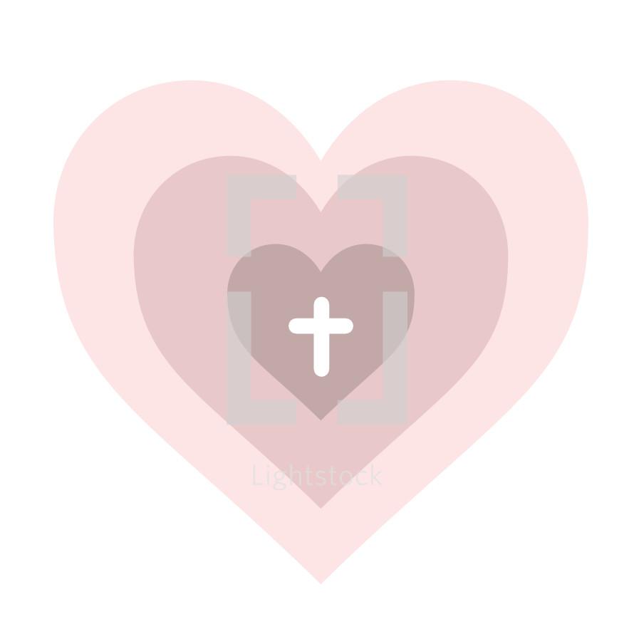 cross in a heart