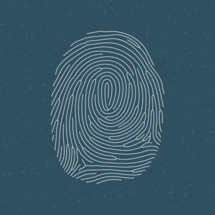 white fingerprint on a blue background