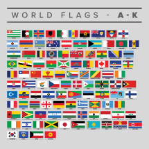 Set of world flags A-K.