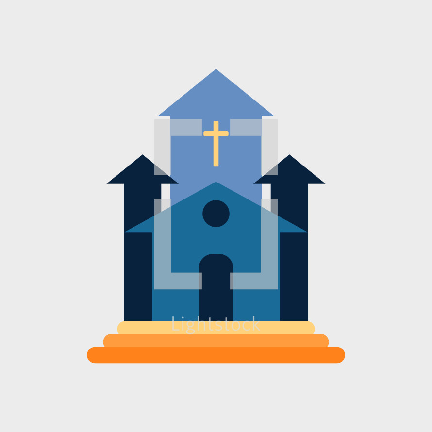 church building in flat design style