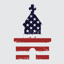 church and american flag icon