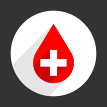 Blood droplet symbol a red drop sign with a white criss cross is on a white circle on a gray background. The icon is created in a flat style with long shadows. The design graphic element is saved as a vector illustration in the EPS file format for used in your design projects.