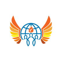 people, globe, wings, tongue of fire, membership, church, holy spirit, logo, icon, community, missions, blue, orange, yellow