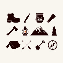 boot, camping, camp, arrows, lantern, tent, shovel, compass rose, mountain, tree, flashlight, knife, ax, backpack, pocket knife