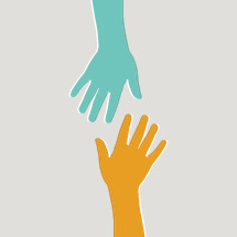 volunteer hands reaching for the other.