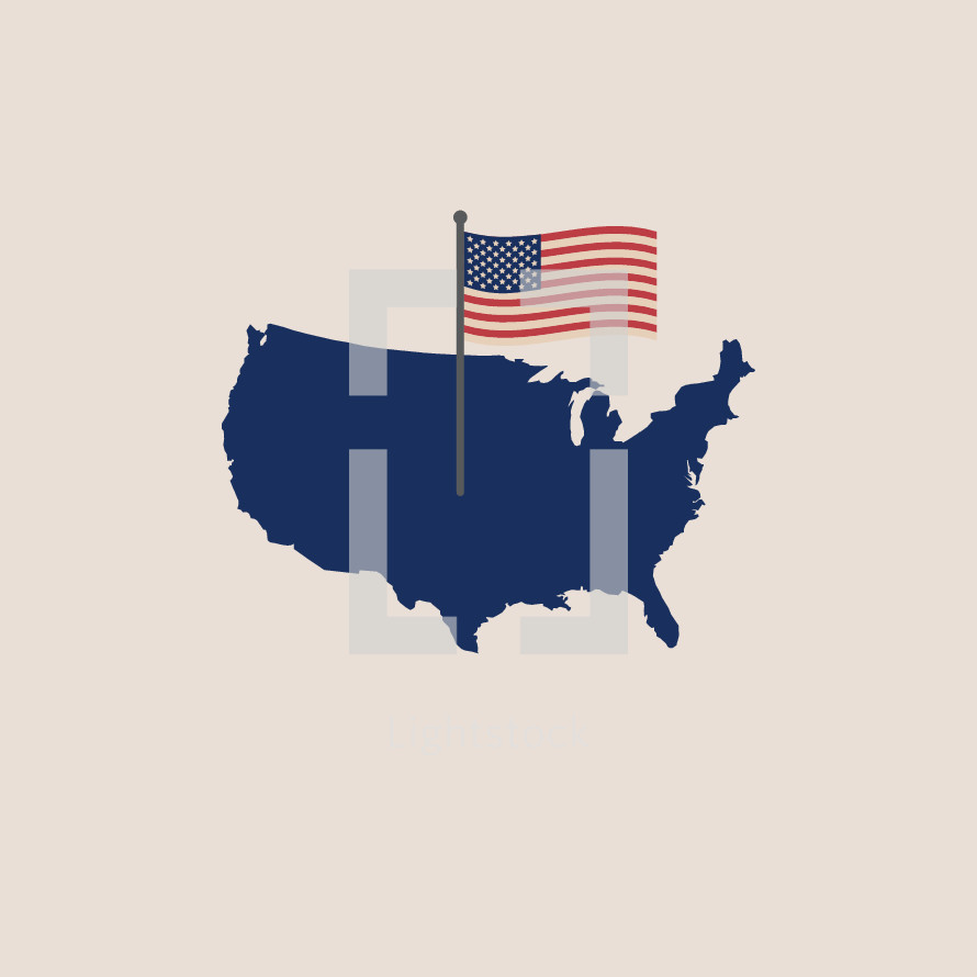 American flag on a map of the United States