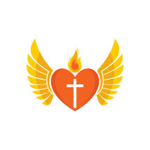 heart with wings and cross and flame