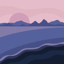 landscape illustration in purple