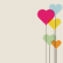 colorful heart balloons illustration.