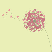 Abstract dandelion with hearts as seeds.