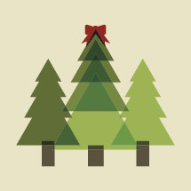 illustration of Christmas trees in a field.