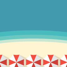 beach umbrellas on a beach border