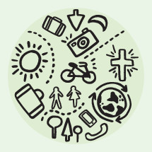 world travel hand drawn icons.