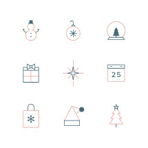 Christmas icon set.