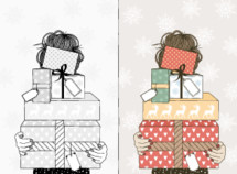 girl holding a stack of gifts