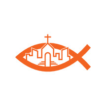 church in a city and Jesus fish