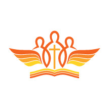 people, wings, Bible, yellow, orange, cross, logo, icon, church, missions