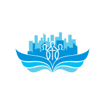city buildings, blue, wings, people, missions, church, cross, logo, icon