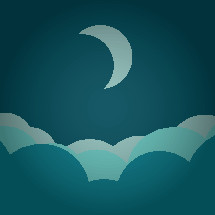 crescent moon in a cloudy night sky