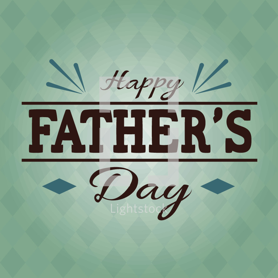 Happy Father's Day hand lettering, background with diamond pattern, Dad