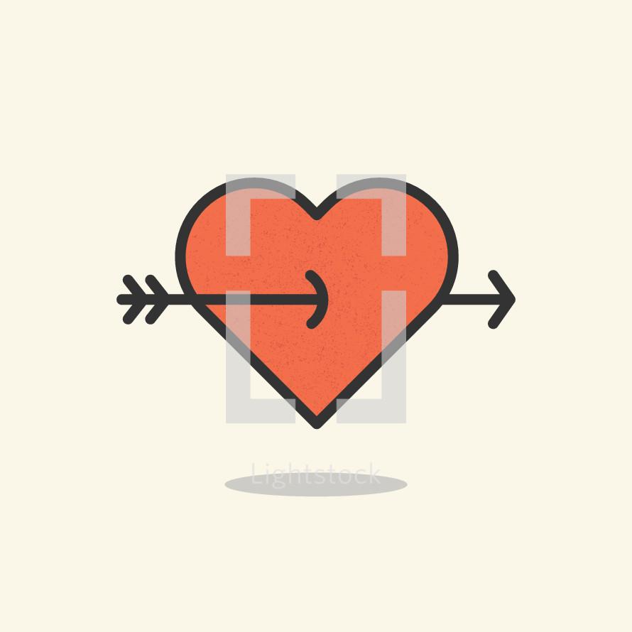 cupid's arrow through a heart