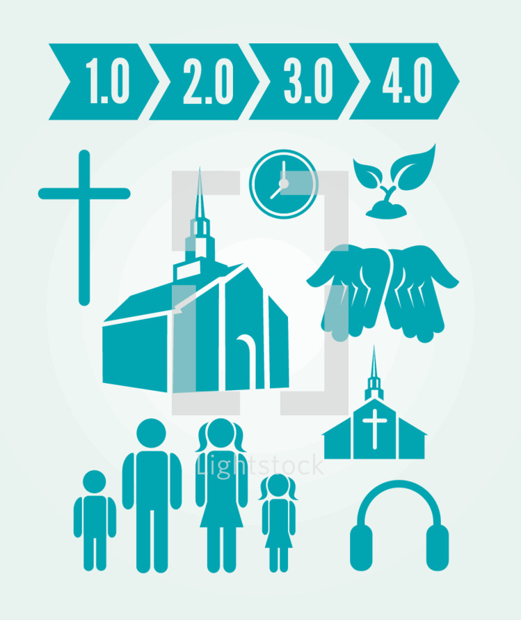 1.0, 2.0, 3.0, 4.0, family, headphone, icon, web, church, building, open palms, open hands, growth, plant, sprout, cross, clock