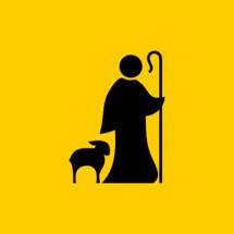 Christian symbols. Shepherd and faithful sheep.