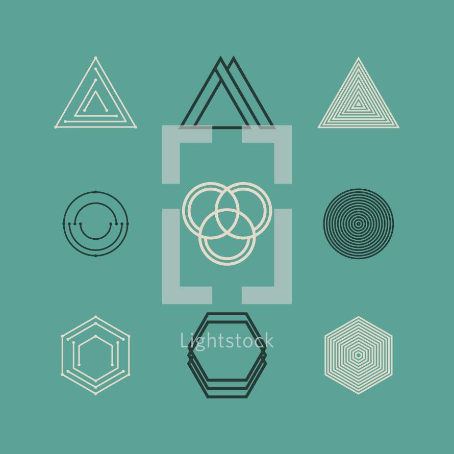 geometric, shapes, polygons, hexagon, triangle, trinity, circles